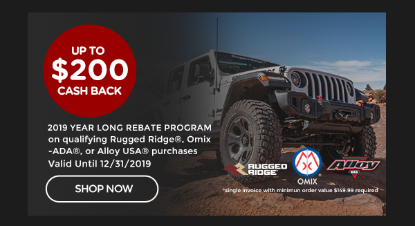 Omix 2019 Year Long Rebate Program | Just Buy, on a single invoice, Rugged Ridge®, Omix®, Alloy USA® or Outland® products and get a 5% cash rebate from Omix-ADA, Inc® (minimum order value $149.99 required, maximum cash back rebate $200 per invoice) | Ends 12/31/19 [CLICK HERE]