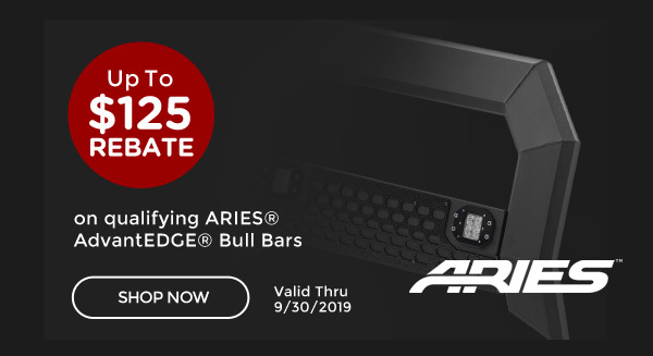 Aries AdvantEDGE® Promo | Claim up to a $125 Prepaid Mastercard® Card with the purchase of select ARIES® AdvantEDGE® Bull Bar* | Ends 09/30/19